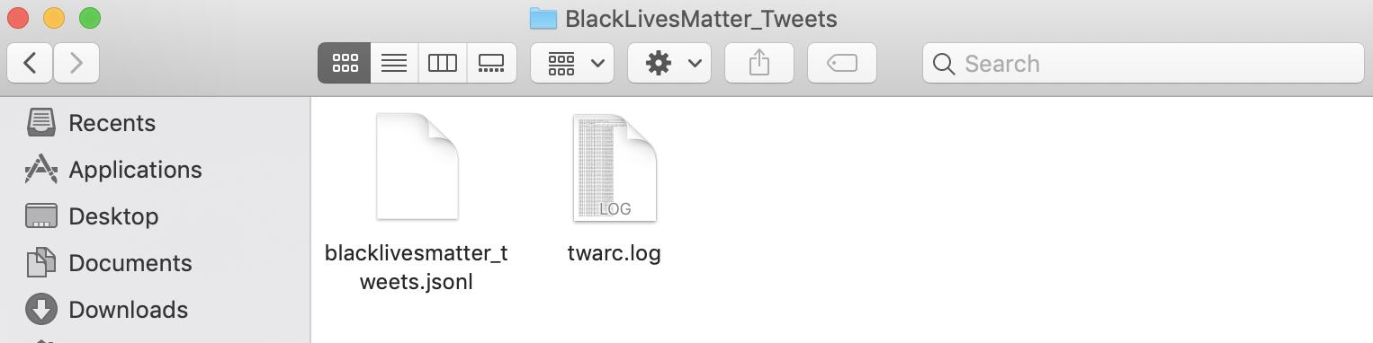 Screen shot of twarc log files